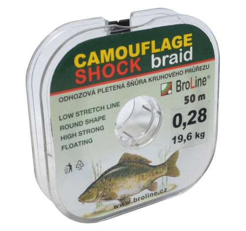 Broline Šňůra šoková Carp Dyneema Camouflage Shock 0,280 mm