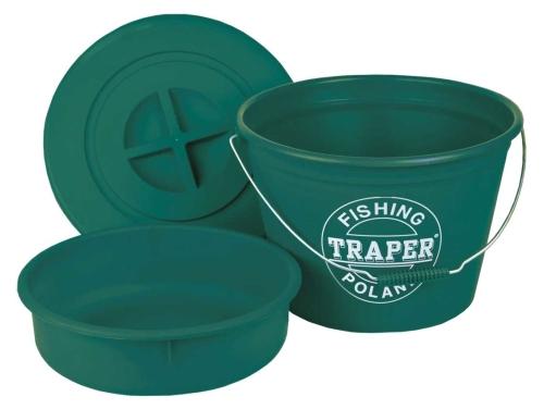 Traper® Vědro na krmení s víkem - plastové