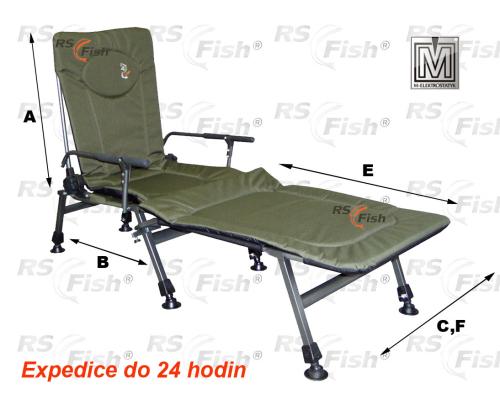M Elektrostatyk® Křeslo rybářské F5R + podnožka - barva zelená