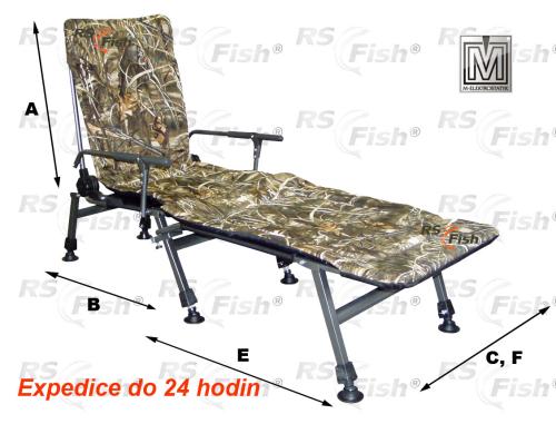 M Elektrostatyk® Křeslo rybářské F5R + podnožka - barva maskáčová
