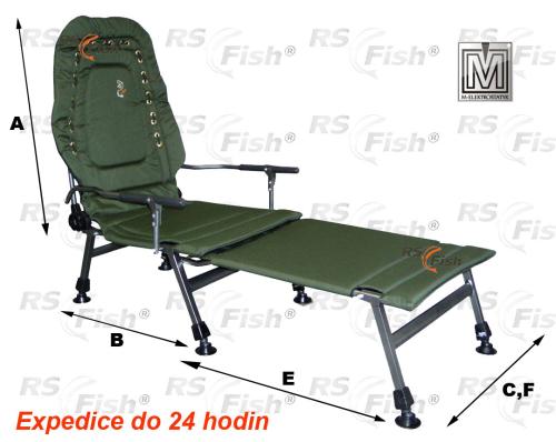 M Elektrostatyk® Křeslo rybářské FK2 + podnožka - barva zelená