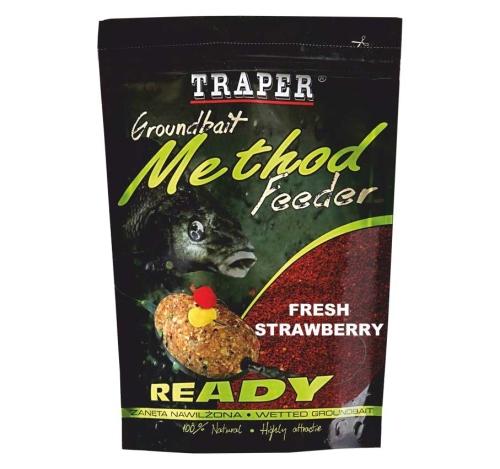 Traper® Vlhčená krmítková a vnadící směs Traper Method Feeder Jahoda - 750 g