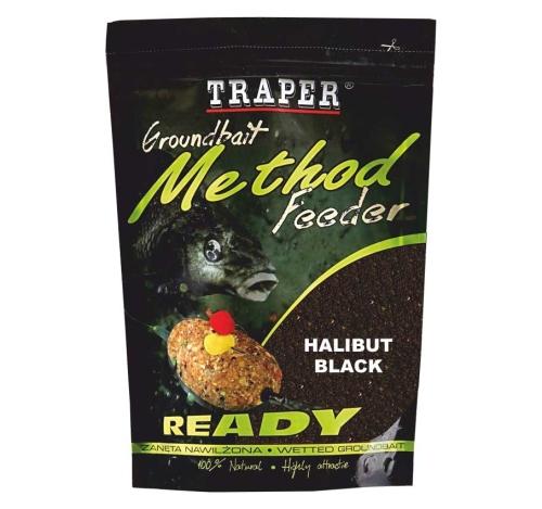 Traper® Vlhčená krmítková a vnadící směs Traper Method Feeder Halibut Black - 750 g