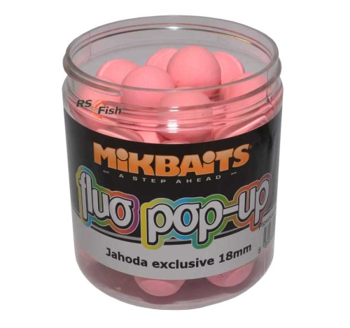 Mikbaits® Boilies Mikbaits Fluo Pop-Up - Jahoda Exclusive - 18 mm